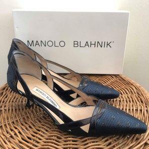 Manolo Blahnik Navy Kitten Heels